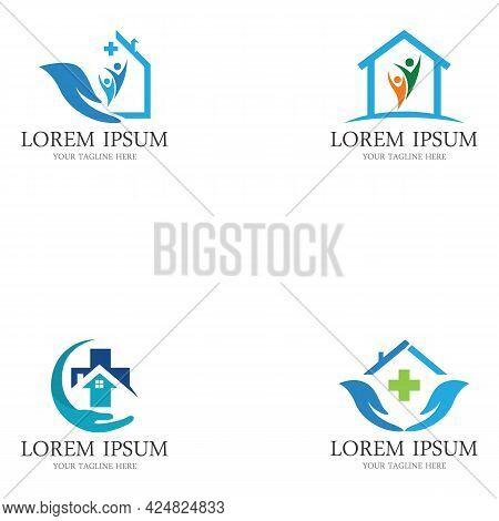 Home Care Logo Design Vector Icon Symbol House Care Logo Template, Medical House Logo