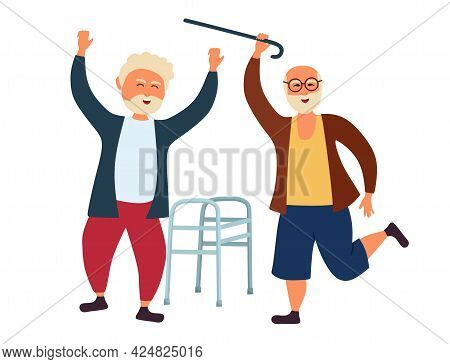 Grandpas Old People Are Dancing Throwing Away A Walking Stick And A Walker. The Older Man Is Having