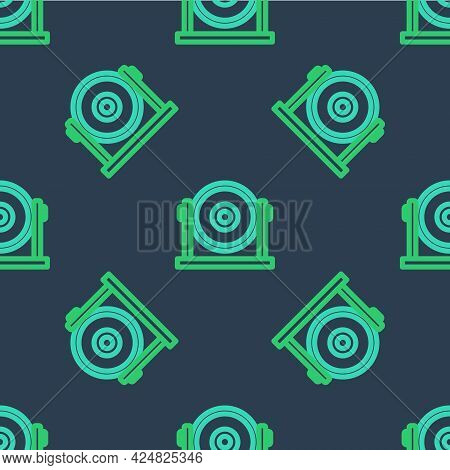 Line Gong Musical Percussion Instrument Circular Metal Disc Icon Isolated Seamless Pattern On Blue B