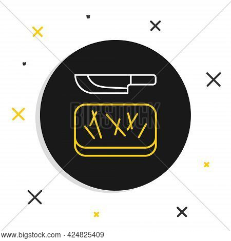 Line Cutting Board And Knife Icon Isolated On White Background. Chopping Board Symbol. Cutlery Symbo