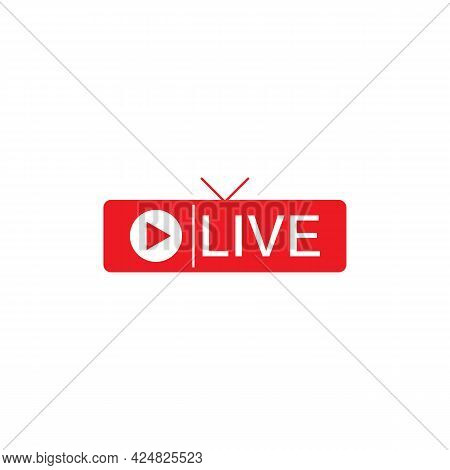 Live Streaming Icon. Red Symbol And Button Of Live Streaming, Broadcasting, Online Stream. Lower Thi
