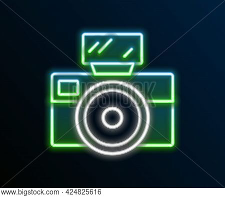 Glowing Neon Line Photo Camera With Lighting Flash Icon Isolated On Black Background. Foto Camera. D