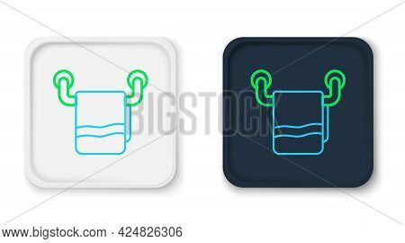 Line Towel On A Hanger Icon Isolated On White Background. Bathroom Towel Icon. Colorful Outline Conc