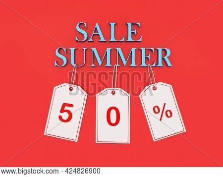 Banner With Text Summer Sale And 50 Percent Discount On Price Tags On Red. 3d Illustration