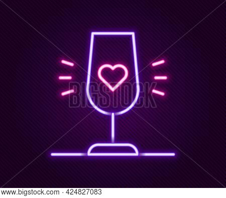 Glowing Neon Line Wine Glass Icon Isolated On Black Background. Wineglass Sign. Favorite Wine. Color