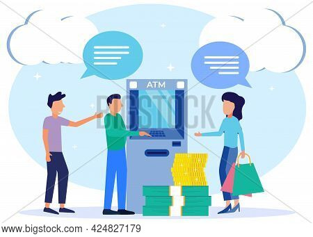 Modern Style Vector Illustration Of Financial Transactions Using An Atm. People Queue Near Atm Machi