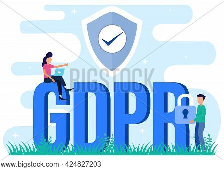 Vector Illustration Of Flat Isometric Isolated On White Background. Gdpr Data Protection Concept. Ca