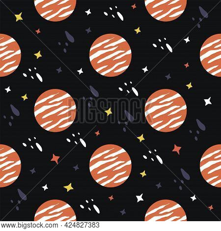 Seamless Pattern With Planets And Stars. Outer Space. Black Background. Colorful Vector Illustration