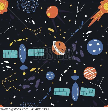 Seamless Pattern With Elements Of The Universe. Planets, Stars And The Milky Way, Artificial Satelli