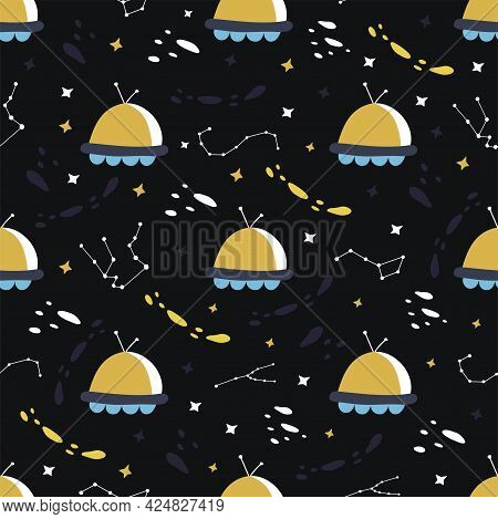 Seamless Pattern With Elements Of The Universe. Ufo, Stars And Constellations, Flying Saucer. Colorf