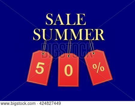 Banner With Text Summer Sale And 50 Percent Discount On Red Price Tags. 3d Illustration