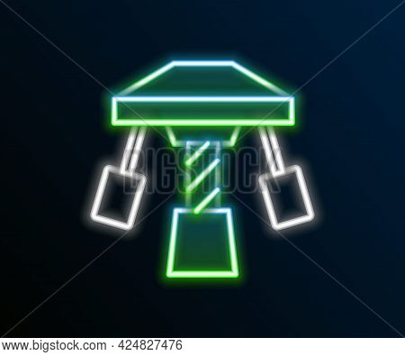 Glowing Neon Line Attraction Carousel Icon Isolated On Black Background. Amusement Park. Childrens E
