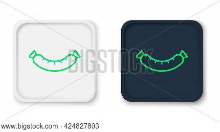 Line Sausage Icon Isolated On White Background. Grilled Sausage And Aroma Sign. Colorful Outline Con