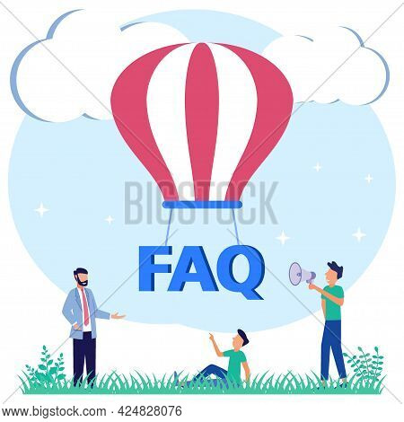 Flat Vector Illustration. Person Character Around Faq Text With Parachute. Asking Questions And Rece