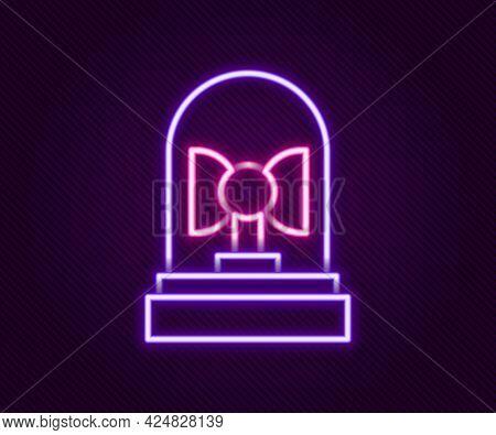 Glowing Neon Line Flasher Siren Icon Isolated On Black Background. Emergency Flashing Siren. Colorfu