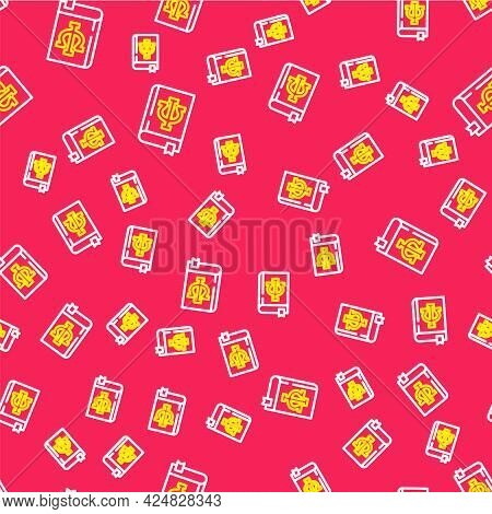 Line Psychology Book Icon Isolated Seamless Pattern On Red Background. Psi Symbol. Mental Health Con