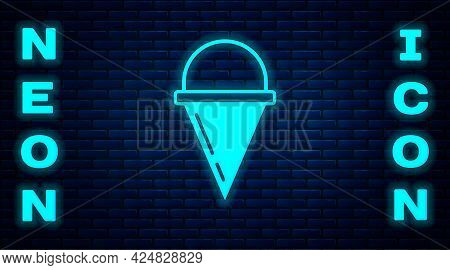 Glowing Neon Fire Cone Bucket Icon Isolated On Brick Wall Background. Metal Cone Bucket Empty Or Wit