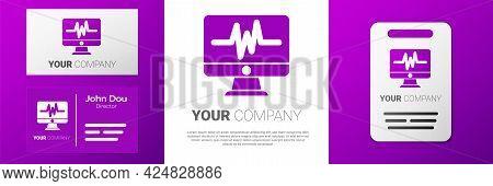 Logotype Computer Monitor With Cardiogram Icon Isolated On White Background. Monitoring Icon. Ecg Mo