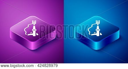 Isometric Fishing Harpoon Icon Isolated On Blue And Purple Background. Fishery Manufacturers For Cat