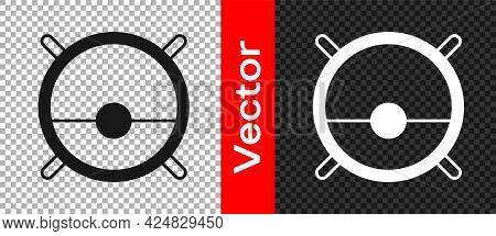 Black Robot Vacuum Cleaner Icon Isolated On Transparent Background. Home Smart Appliance For Automat