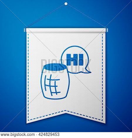 Blue Voice Assistant Icon Isolated On Blue Background. Voice Control User Interface Smart Speaker. W