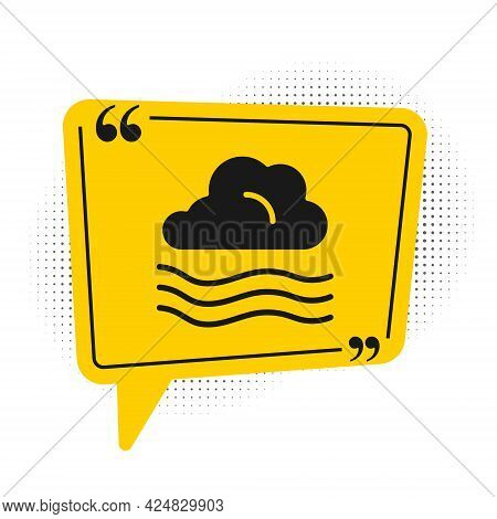 Black Windy Weather Icon Isolated On White Background. Cloud And Wind. Yellow Speech Bubble Symbol.