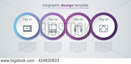 Set Line Online Play Video, Cinema Auditorium With Screen, Headphones And Curtain. Business Infograp