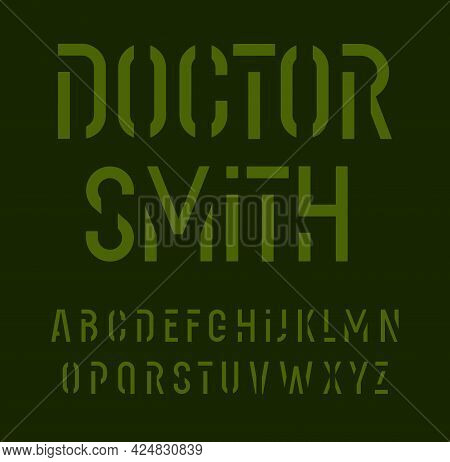 Stencil Font Alphabet Letters. Military Style Typography. Urban Futuristic Typographic Design. Graff