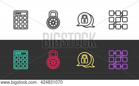 Set Line Password Protection, Safe Combination Lock, Cyber Security And Graphic Password On Black An