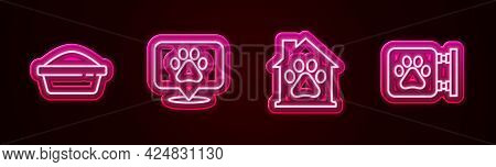 Set Line Pet Food Bowl, Location Veterinary, House And Veterinary Clinic. Glowing Neon Icon. Vector