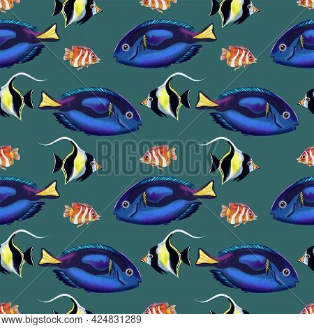 Seamless Pattern With Tropical Fishes. Moorish Fish, Paracanthurus Hepatus Surgeonfish, Pepprmint An
