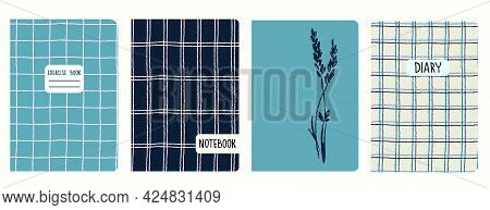 Cover Page Templates Based On Seamless Patterns With Hand Drawn Gridline, Lavender Branch. Headers I