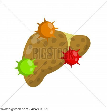 Bad Liver. Attack Germs And Cirrhosis Of The Liver. Health Problem. Medical Disease Of Human Interna