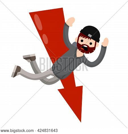 Man Fall Down. Frightened Guy In Distress. Problem And Failure. Cartoon Flat Illustration.