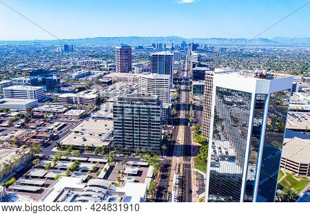 Aerial Of Central Ave In Phoenix Arizona