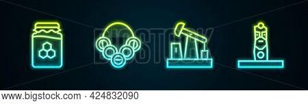 Set Line Jar Of Honey, Russian Bagels, Oil Pump Or Pump Jack And Slavic Pagan Idol. Glowing Neon Ico