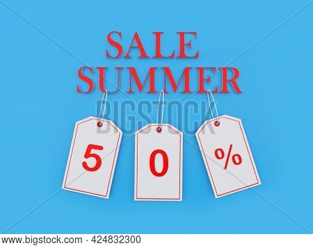 Banner With Text Summer Sale And 50 Percent Discount On Price Tags On Blue. 3d Illustration
