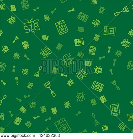 Set Line Stink Bug, Fly Swatter And Book About Insect On Seamless Pattern. Vector
