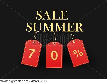 Banner With Text Summer Sale And Seventy Percent Discount On Red Price Tags On Black. 3d Illustratio