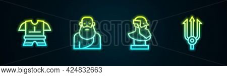 Set Line Body Armor, Socrates, Ancient Bust Sculpture And Neptune Trident. Glowing Neon Icon. Vector