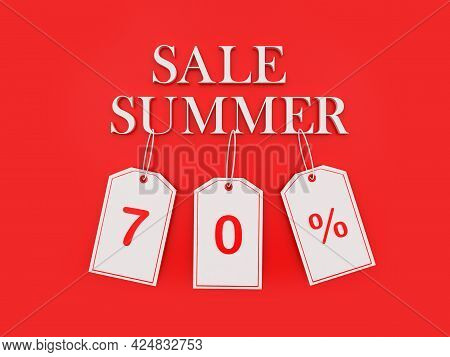 Banner With Text Summer Sale And Seventy Percent Discount On  Price Tags On Red. 3d Illustration