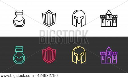 Set Line Poison In Bottle, Shield, Medieval Iron Helmet And Castle, Fortress On Black And White. Vec