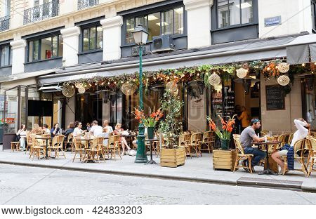 Paris, France-june 21 , 2021 : Cafe Lezard Is Traditional French Cafe Located In Les Halles District