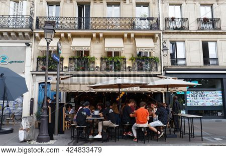 Paris, France-june 21 , 2021 : Cafe Livres Is Traditional French Cafe Located In Les Halles District