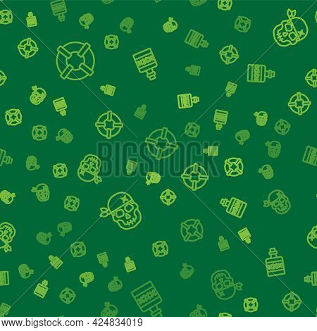 Set Line Lifebuoy, Skull And Alcohol Drink Rum On Seamless Pattern. Vector