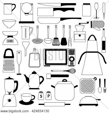 A Large Collection Of Kitchen Utensils, Tools And Accessories. Icons Of Kitchen Utensils. Knives, La