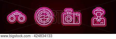 Set Line Binoculars, Ship Porthole With Seascape, Photo Camera And Tourist. Glowing Neon Icon. Vecto