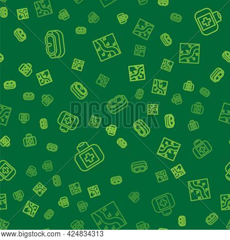 Set Line Ski Goggles, First Aid Kit And Route Location On Seamless Pattern. Vector