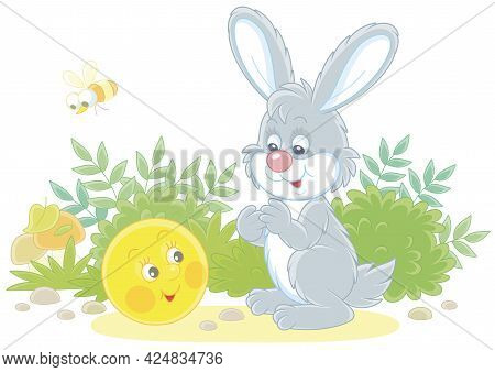 Freshly Backed Happy Round Loaf Friendly Smiling And Talking To A Small Grey Hare On A Forest Glade