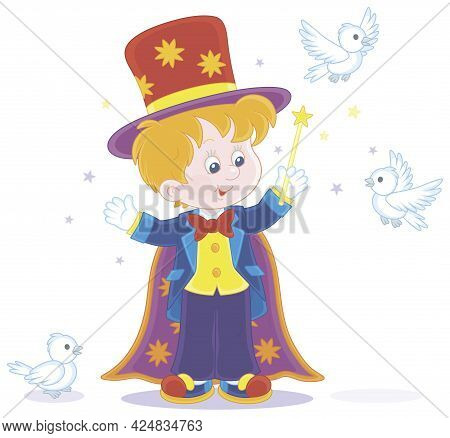 Little Boy Illusionist With A Mysterious Hat And A Magic Wand, Conjuring Tricks With White Birds In